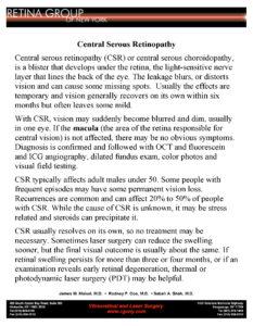 RGONY Handout Central Serous Retinopathy